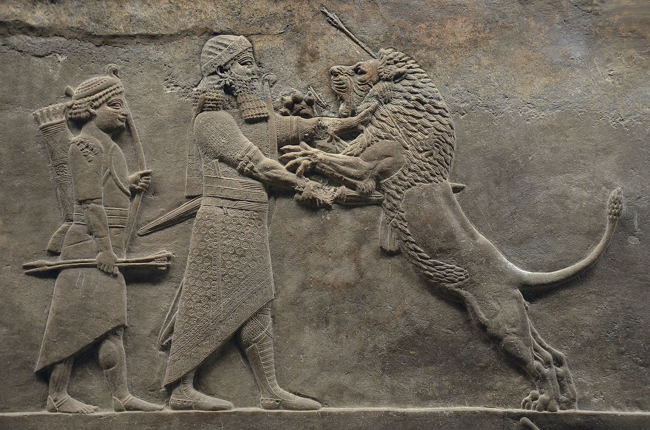 Sculpted_reliefs_depicting_Ashurbanipal,_the_last_great_Assyrian_king,_hunting_lions,_gypsum_hall_relief_from_the_North_Palace_of_Nineve